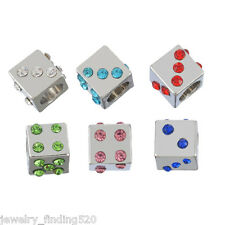 Wholesale Multi Rhinestone Square European Charms Beads Fit Charms Bracelet 8mm