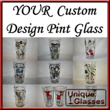 Personalised Hand Painted Pint Glass with YOUR Custom Design by Unique Glasses
