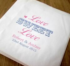 Personalised White Paper Sweet Bags Wedding Engagement Anniversary Candy Buffet