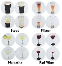 Disappearing Drink Coasters - Set of 4 - Stout, Pilsner, Margarita or Red Wine