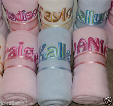 Personalised Baby Fleece Blanket, ANY NAME, New Baby Gift, PINK/BLUE/WHITE/CREAM
