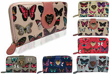 Genuine AS046 Anna Smith Ladies Butterfly print Patent Wallet Purse & GIFT BOX