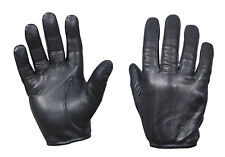 Black Leather Cut Knife Resistant Lined Police Sheriff Patrol Search Duty Gloves