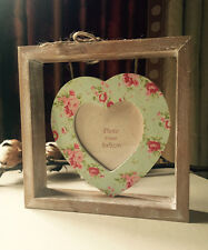 SHABBY WOODEN CHIC Hanging Heart Freestanding Photo Frame Floral