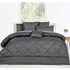 6 Pieces Slate Jacquard Waffle Comforter Set by Accessorize - QUEEN KING