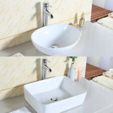 New Bathroom Basin Sink Countertop with Pop Up Waste+Chrome Bottle Trap UK STOCK