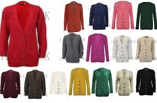 Womens Cable Knitted 5 Button Baggy Boyfriend Ladies V Neck Cardigan