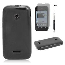 Black Gel Flex Cover Case for TracFone Huawei H868C Prepaid Cell Phone Film Pen