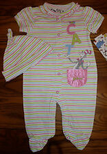 New Dr Suess Cat in The Hat Stripey Baby Girl Romper Jumpsuit Set with Hat