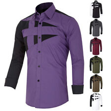Luxury Mens Long Sleeve Slim Fit Casual Formal Shirts Designer Dress Shirts Tops