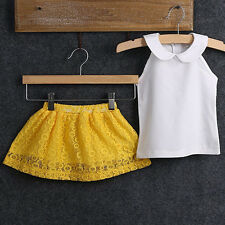 2Pcs Handy Baby Girl's Vest Top + Yellow Lace Printing Dress Suit Outfit Set