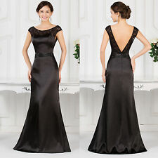Elegant Black LACE Evening Party Dress Cocktail Prom Bridesmaid Wedding Ballgown