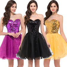 Gold Sequin Homecoming Bodice Short Bridal Prom Cocktail Party Evening Dress GK