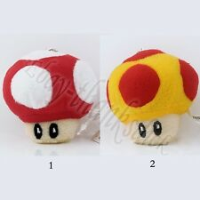 Anime Game Super Mario Mushroom Pendant Key Ring Chain Soft Plush Doll Toy