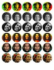 30 BOB MARLEY EDIBLE WAFER/RICE/FONDANT PAPER CUP CAKE FAIRY BUN TOPPERS