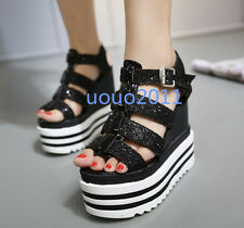 Womens Girls New Open Toe Cut Out Wedge Creeper Heel Platform Open Toe Sandals