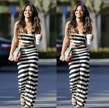 Sexy Women Sleeveless Cut Out Striped Slim Fit Long Maxi Tank Dress US LM