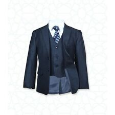 Boys 5 PC Formal Dark Navy Blue Suit Italian Design Page Boy Wedding Prom Suits