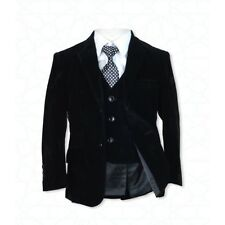 Boys 5 PC Formal Black Suit Italian Design Page Boy Wedding Prom Dinner Suits