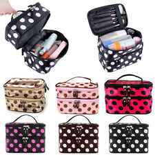 NEW Lady Retro Dot Beauty Double Layer Large Cosmetic Tool Storage Toiletry Bag