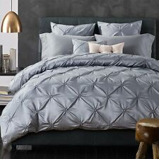 Drape Quilt Duvet Doona Cover Set Queen King Size Bed Grey Cotton Silk Cover New