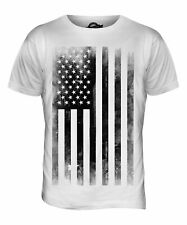STARS AND STRIPES FADED PRINT MENS FASHION T-SHIRT TOP ROLLED SLEEVE USA FLAG