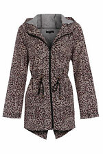 Ladies Rain Mac Parka Womens Fishtail Jacket Festival Coat Leopard 8 10 12 14 16