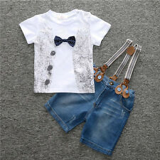 New Cute Gentleman Baby Boys Jeans + strap + T - shirt Summer Clothes Outfits