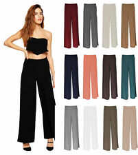 WOMENS PALAZZO TROUSERS WIDE LEG FLARED PANTS LADIES