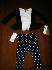 NWT-Nicole Miller Dressy 2 Piece Outfit For Infants/Toddlers-Black/White-0626