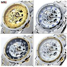Mens Skeleton Steel Analog Hand Winding Mechanical Sport Wrist Watch Classic New