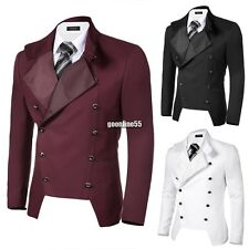 COOFANDY Men Casual Stand Neck Double-breasted Slim Fit Blazer Jacket EA9