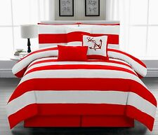 7Pc Red & White Striped Nautical Comforter set Twin Full Queen King Cal King