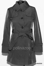 GUESS summer coat Jacket Belted Funnel Neck Black Trench Coat SMALL size NEW