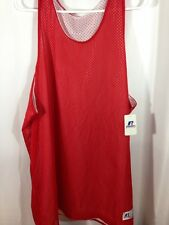 Mens Russell Reversible Red / White Mesh Jerseys Basketball Adult Tank Tops NWT