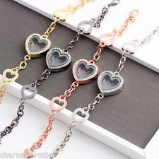 5PCS Mixed Color Heart Rhinestone Locket Bracelets Fit Floating Charms