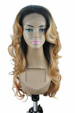 "14-26"" Front Lace Wigs Body Wave Synthetic Ombre Piano TColor Full Wigs 1B27613/"