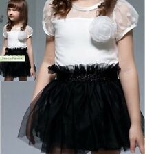 Girls Black & Ivory PARTY TUTU DRESS Sizes 2 3 4 5 6 Top & High Waist Skirt