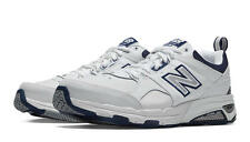 New Balance MX857WN Men's Comfortable Training Shoe White and Navy Leather Upper