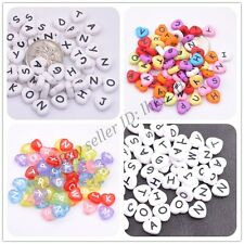 20/50/100Pcs Heart Acrylic Mix LETTER&Colour ALPHABET Charms Loose BEADS 10MM