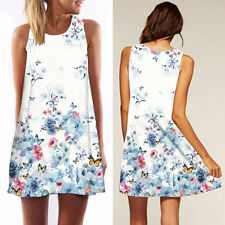 Women Fashion Printed A-Line Mini O-Neck Sleeveless Loose Party Sundress Dress