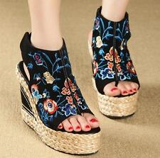 Vintage Womens Sandal Flower Ethnic Embroidered Wedge High Heels Slingback Shoes