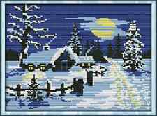 Kit broderie point de croix imprimé/compté,11CT/14CT,Cross Stitch Snow/Hiver