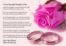PINK A4 VINTAGE STYLE PERSONALISED POEM TO  DAUGHTER ON WEDDING DAY