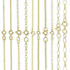 9CT SOLID GOLD 16 18 20 22 24 28 OVAL ROUND BELCHER ROPE POW CHAIN NECKLACE BOX