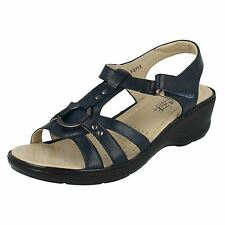 """Eaze F3113 Ladies Navy Synthetic 2"""" Wedge Heeled Cushioned Comfort Sandals"""