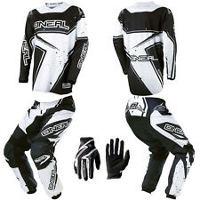 O'Neal Element Black White Motocross MX Dirtbike Gear Jersey Pants Gloves Combo