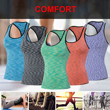 Womens Yoga Sports Compression Seamless RacerBack Stretch Tank Top Vest T-Shirt