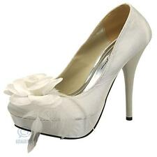 Sexy Womens High Heels Beige Satin Feather Pump Platform Evening Party Shoes