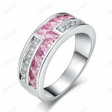 Fashion Women Pink & Clear Cubic Zirconia Party Band Ring 18K White Gold Plated